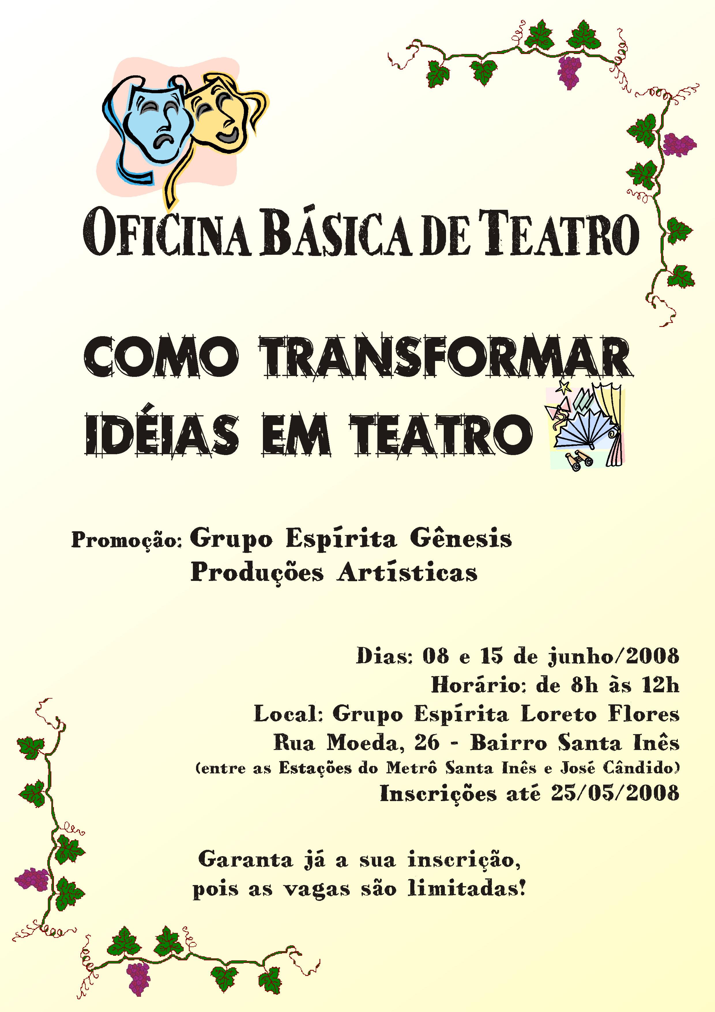 Oficina b sica de teatro grupo esp rita g nesis 10 for Oficina genesis